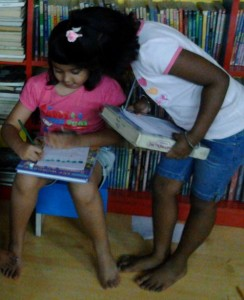 03. Tarini and Gia at Friends Library