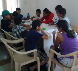 03. Ten children at the Vocabulary Workshop at Magarpatta