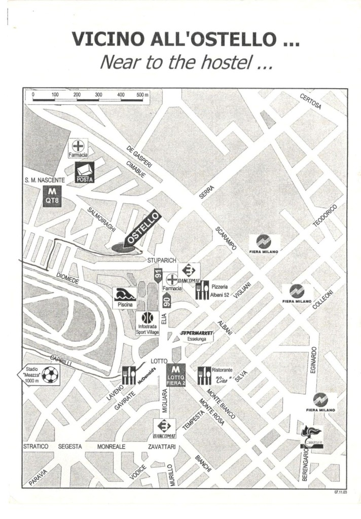 Milan Hostel Map