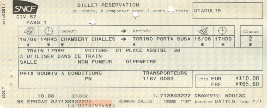 Chambery to Torino ticket
