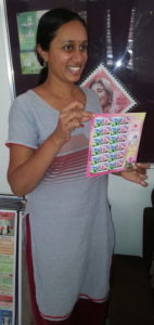 Varsha with stamps