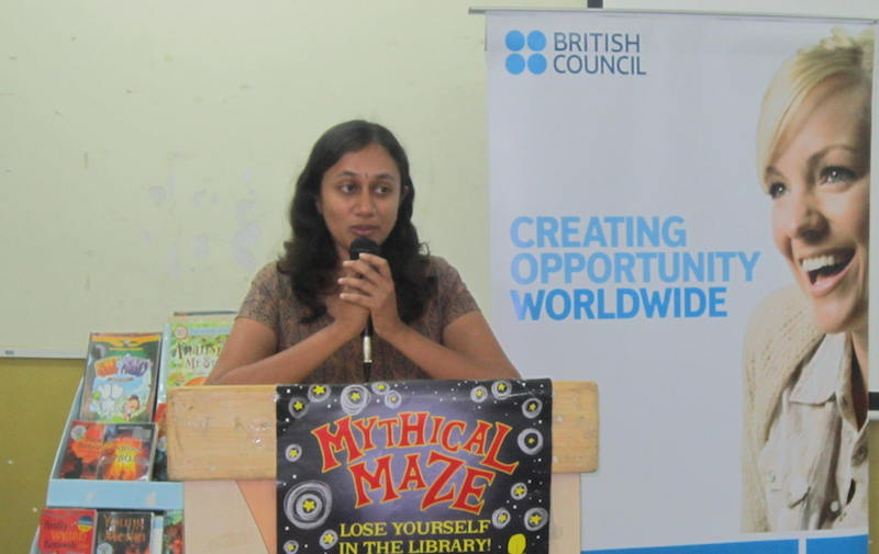 Varsha speaking at Kalmadi Shamrao School