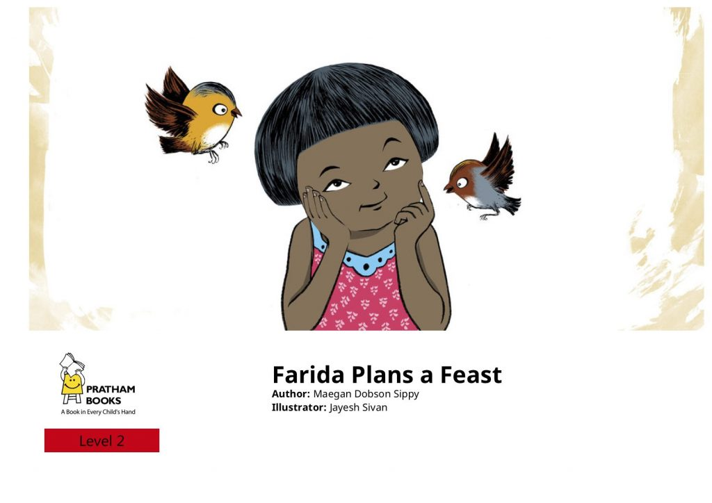 Farida Plans a Feast book cover - girl thinking, with two birds fluttering around her face
