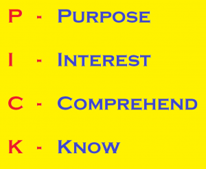 Purpose, Interest, Comprehend, Know