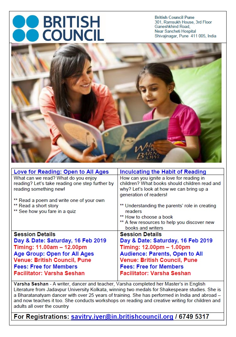 Reading workshop poster for British Council Pune 16 Feb 2019