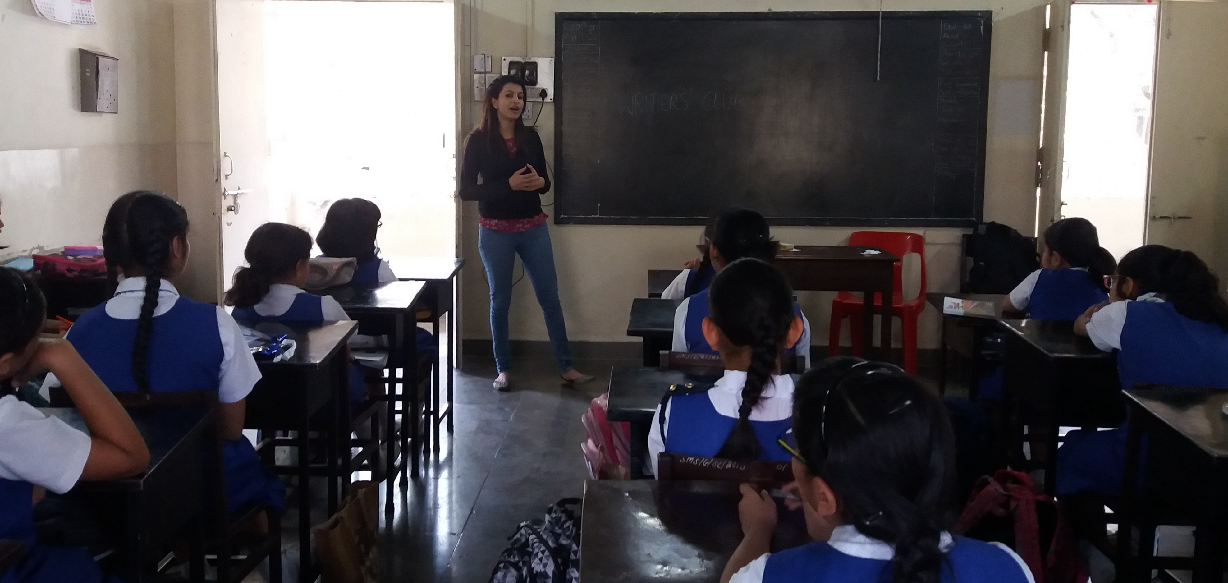 Dr Sreeja Nag addressing the girls at the St. Mary's School Writers' Club