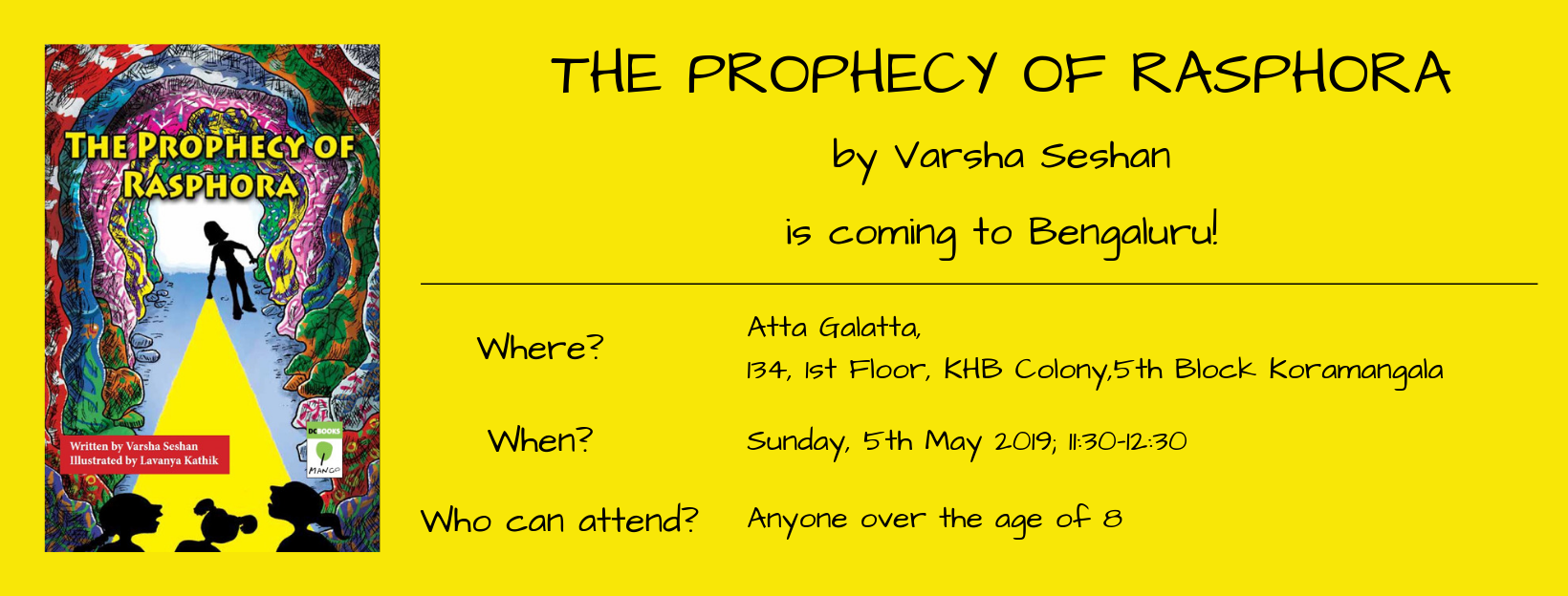 Poster for the launch of The Prophecy of Rasphora at Atta Galatta, Bengaluru on 5th May 2019