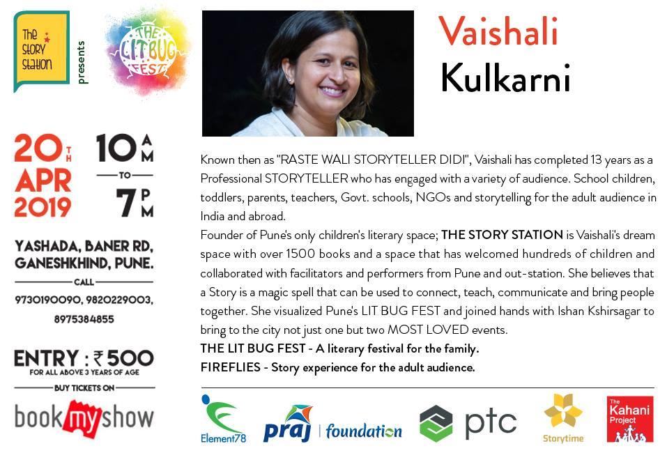 Lit Bug promotion - founder of The Story Station, Vaishali Kulkarni
