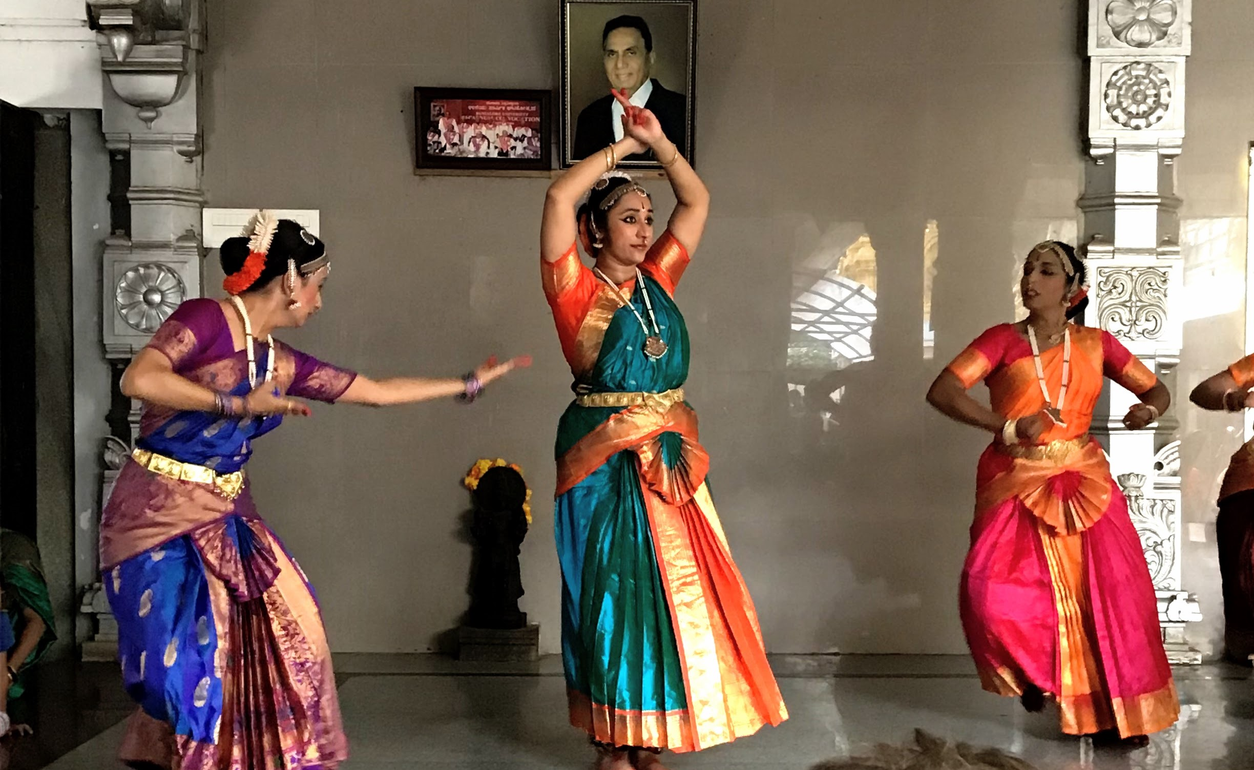 Dancers Manasi, Nisha and Mahalakshmi depicting the churning of the ocean