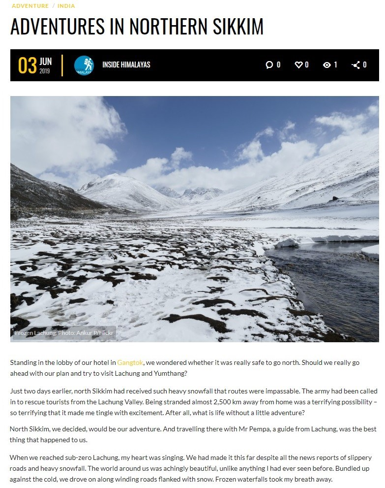 Adventures in Northern Sikkim screenshot - click to read the article