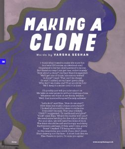Screenshot of my poem 'Making a Clone' in Scoop magazine