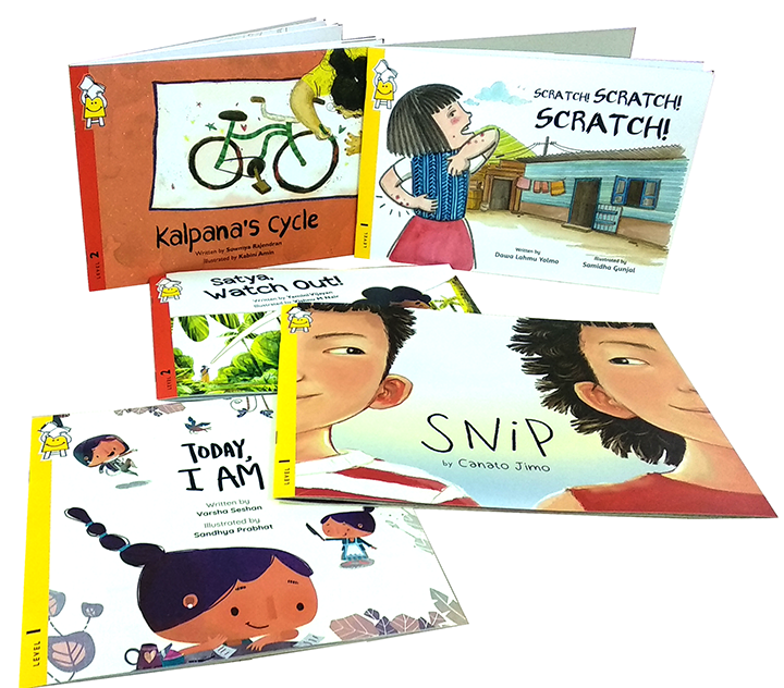 Five book covers - Kalpana's Cycle; Scratch Scratch Scratch; Satya, Watch Out!; Snip; Today, I Am