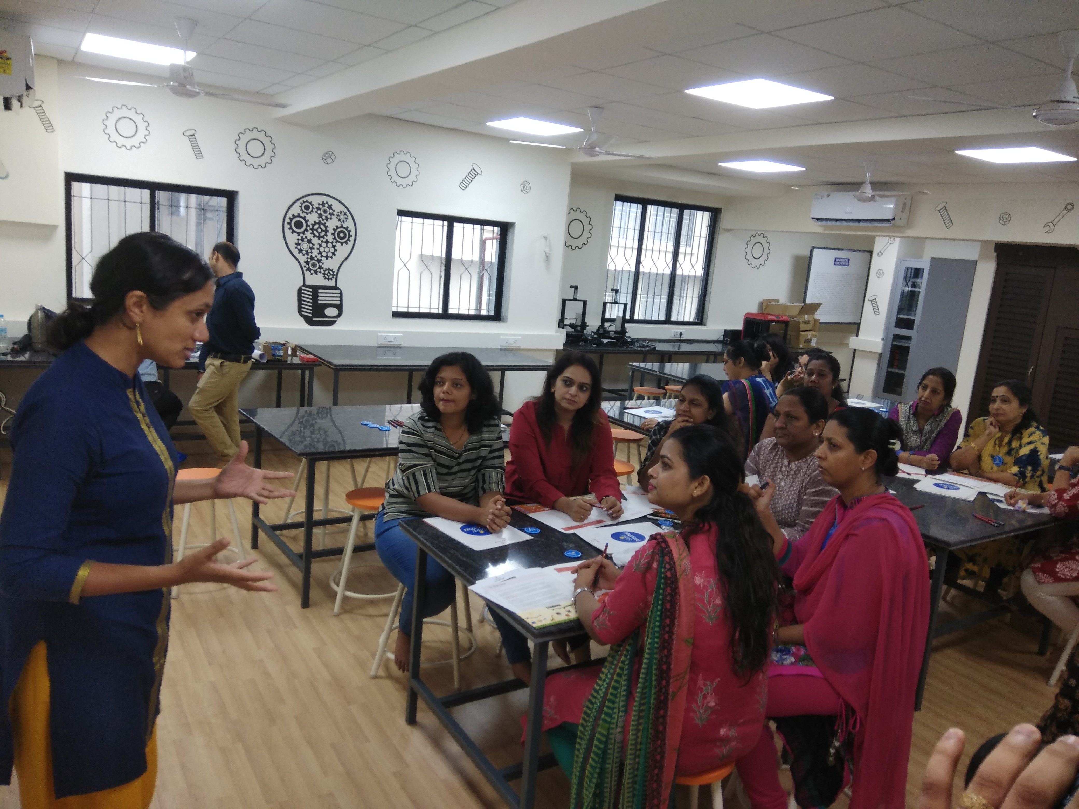 Varsha Seshan with teachers at St. John's Universal School, Goregaon