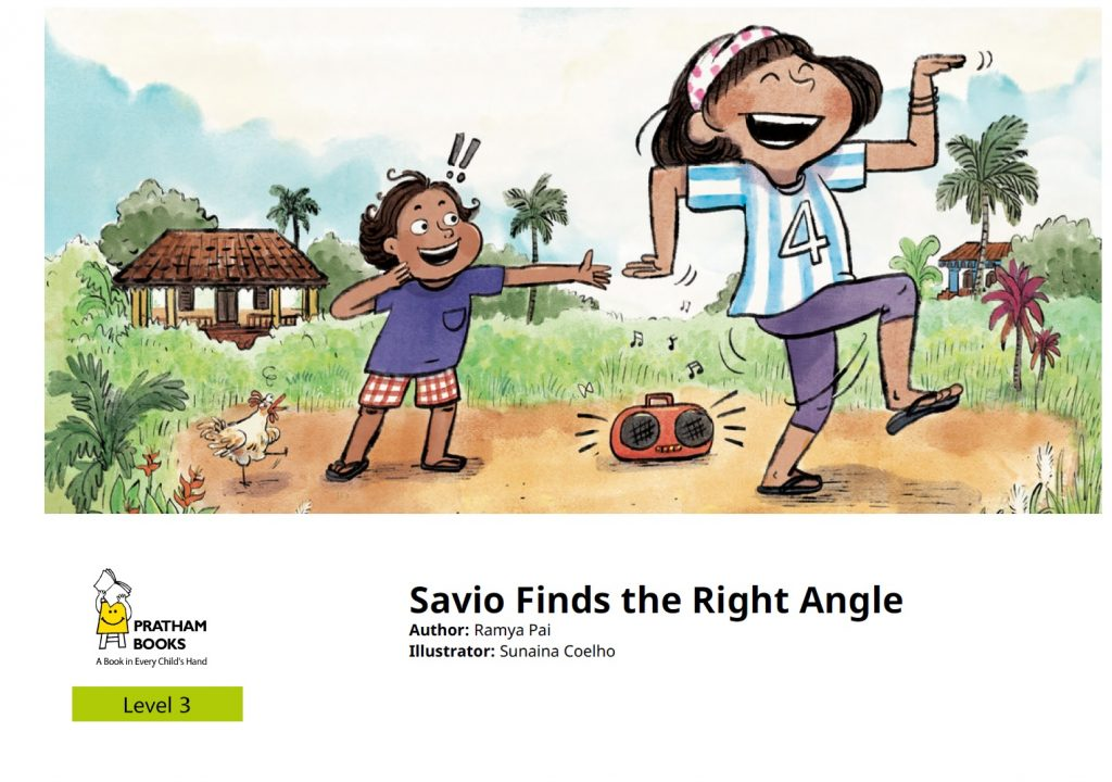 Savio Finds the Right Angle book cover - boy in the background, girl in the foreground, dancing to a boombox