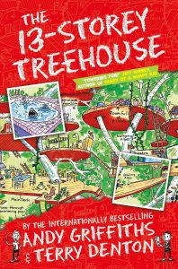 Text: The 13-Storey Treehouse 'Towering fun!' Jeff Kinney, author of 'Diary of a Wimpy Kid' by the internationally bestselling Andy Griffiths & Terry Denton Image: An elaborate treehouse with various things marked - main deck, see-through swimming pool, lemonade fountain, room full of pillows, swinging vines, theatre, bowling alley