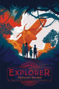 Text: The Explorer Katherine Rundell Boston Globe-Horn Book Fiction award-winning author Image: Four children in a jungle looking at a broken old-fashioned plane