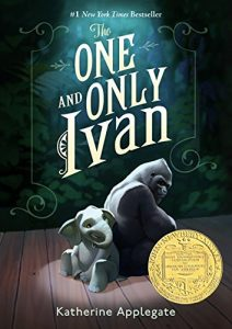 The One and Only Ivan book cover - animated gorilla and elephant sitting back to back on a wooden floor. Text says Number 1 New York Times Bestseller Author Katherine Applegate