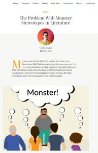 Screenshot of essay The Problem With Monster Stereotypes In Literature, picture of author Varsha Seshan, text below, image of people staring at a dark-skinned, fat moustached man and thinking 'monster'