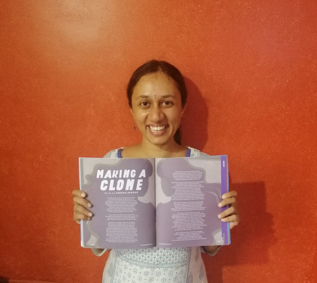 Varsha Seshan showing her poem in a double-spread of the magazine Scoop