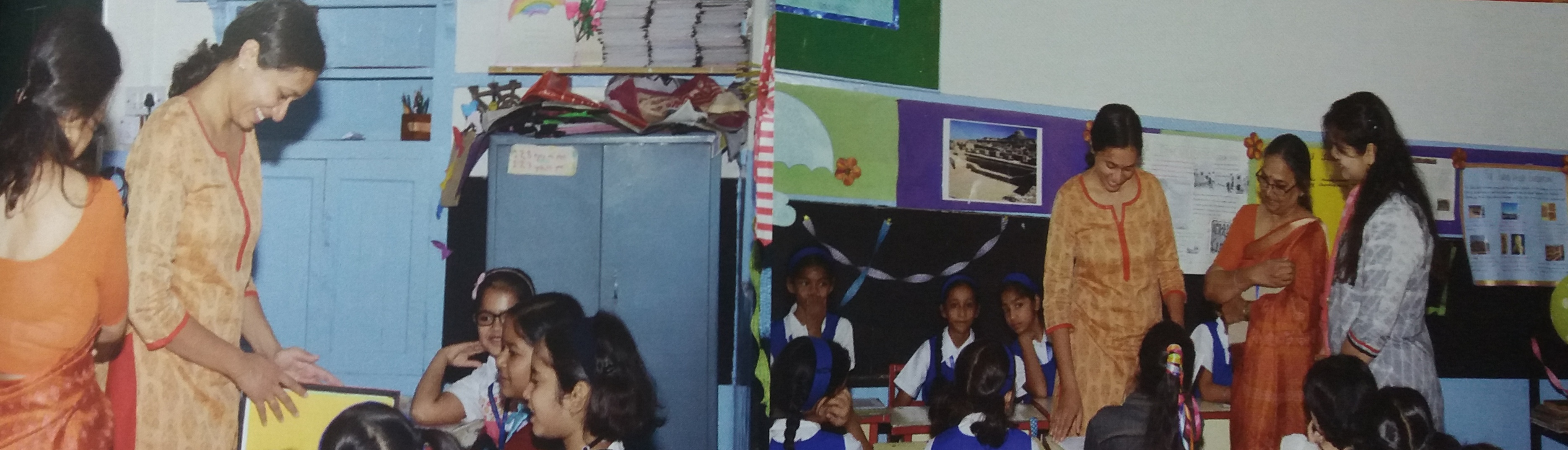 Two photos - Varsha Seshan visiting classrooms with young children and two teachers