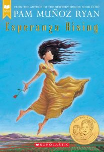 From the author of the Newbery Honor Book 'Echo' Pam Munoz Ryan Esperanza Rising Scholastic Image description - a girl flying over a field, hair flying forwards, one rose clasped to her chest another falling from her hand behind her