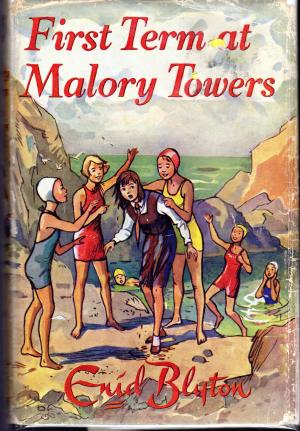 First Term at Malory Towers Enid Blyton Image description - Four girls outside a pond - one in school uniform, sopping wet; the others in old-fashined bathing suits. One girl almost falling into the pond. Two in the pond