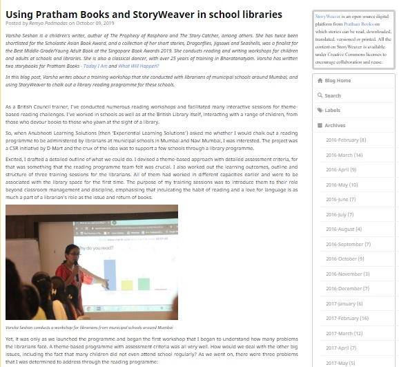 "Screenshot of my blog post, ""Using Pratham Books and StoryWeaver in School Libraries"""