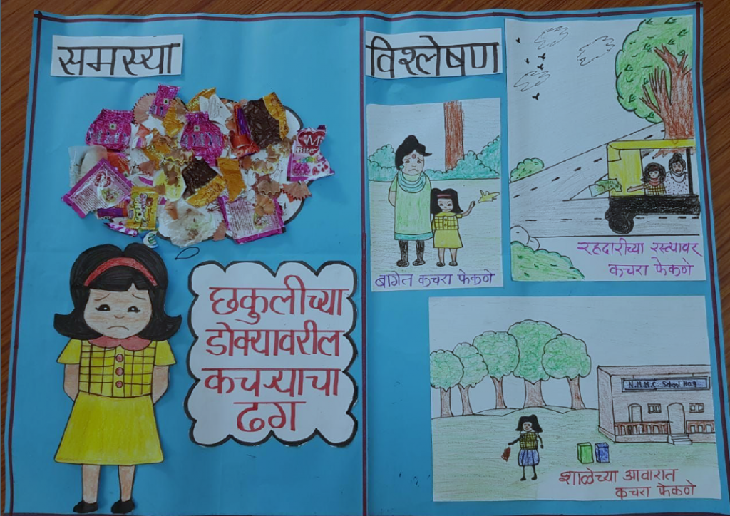 A chart depicting a sad girl with a cloud of trash on her head, examples through pictures on the other side. Text in Marathi