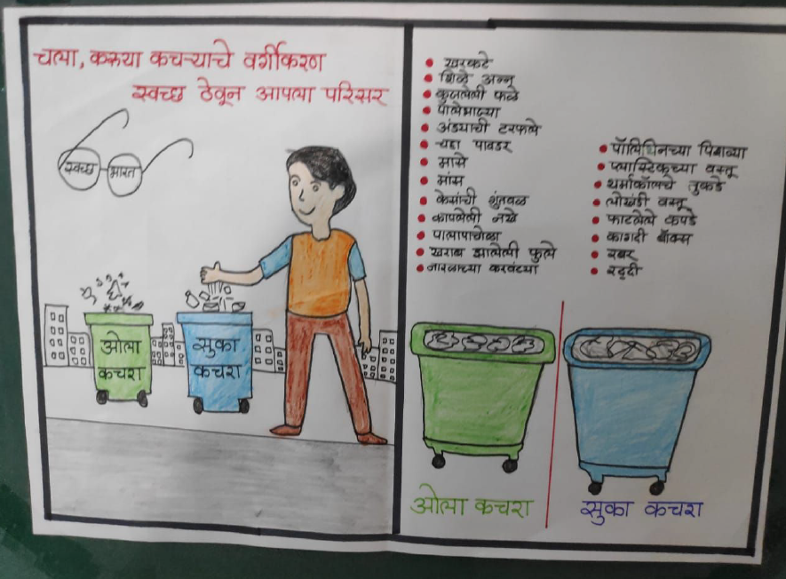 A poster that encourages everyone to separate dry and wet waste keep their surroundings clean