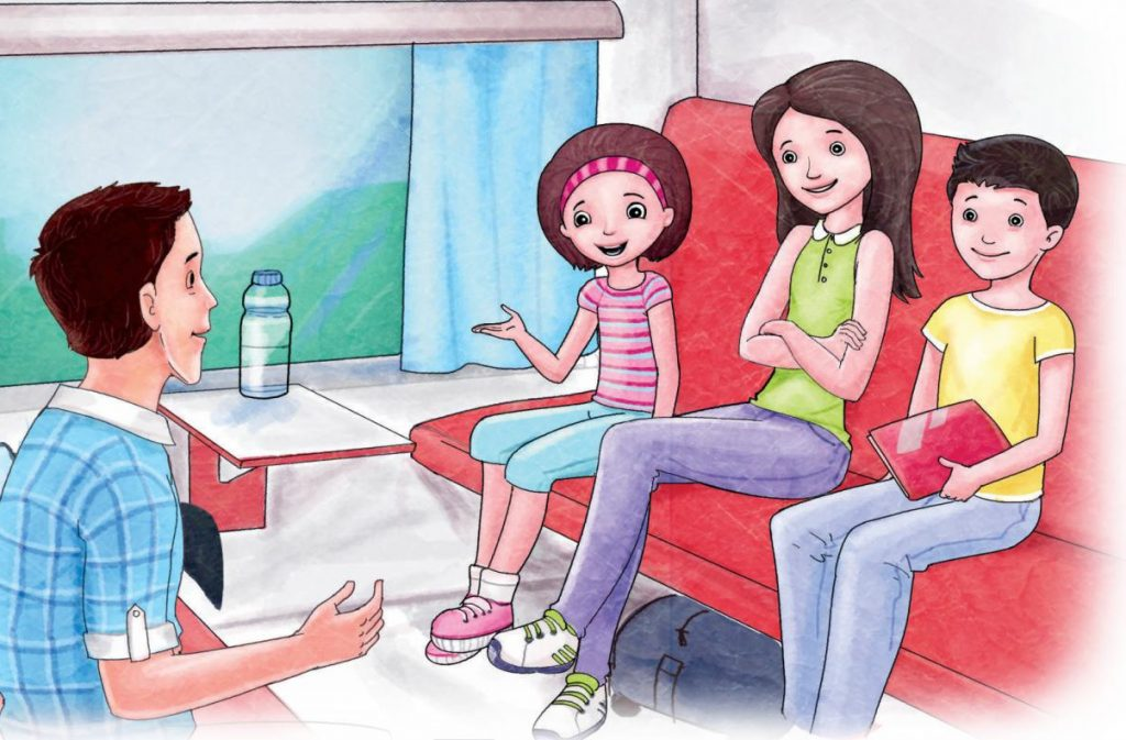 An illustration of four children in a train. Two girls and a boy are on one side, an older boy is opposite them.
