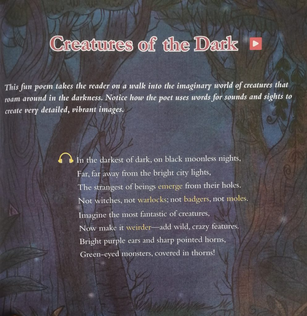 """Photograph of the poem """"Creatures of the Dark"""" with mildly scary background graphics"""