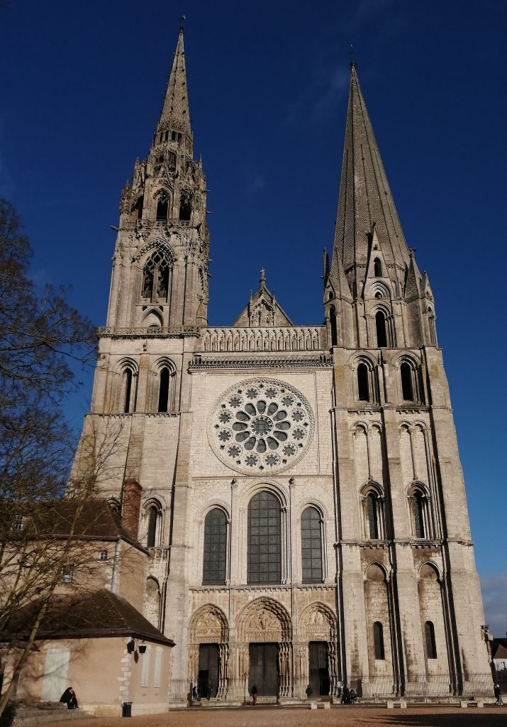 The Chartres cathedral against the evening sky
