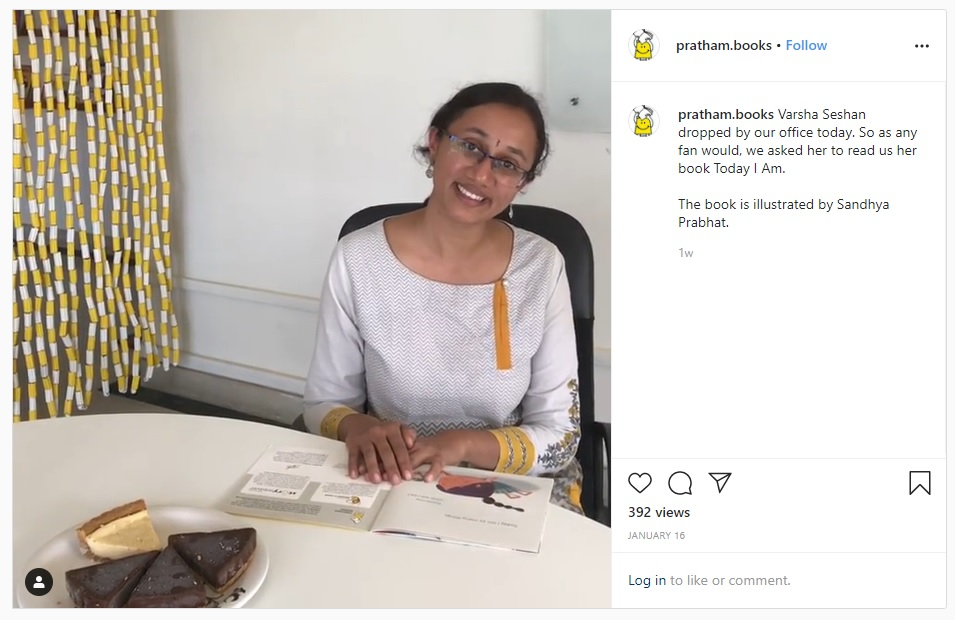 Instagram Screenshot of Varsha Seshan smiling, on the right pratham books says: Varsha Seshan dropped by our office today. So as any fan would, we asked her to read us her book Today I Am. The book is illustrated by Sandhya Prabhat.