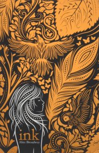 Book cover Text: ink Alice Broadway Image: Intricate designs in golden, including a crow-like bird, surrounding a girl's profile.