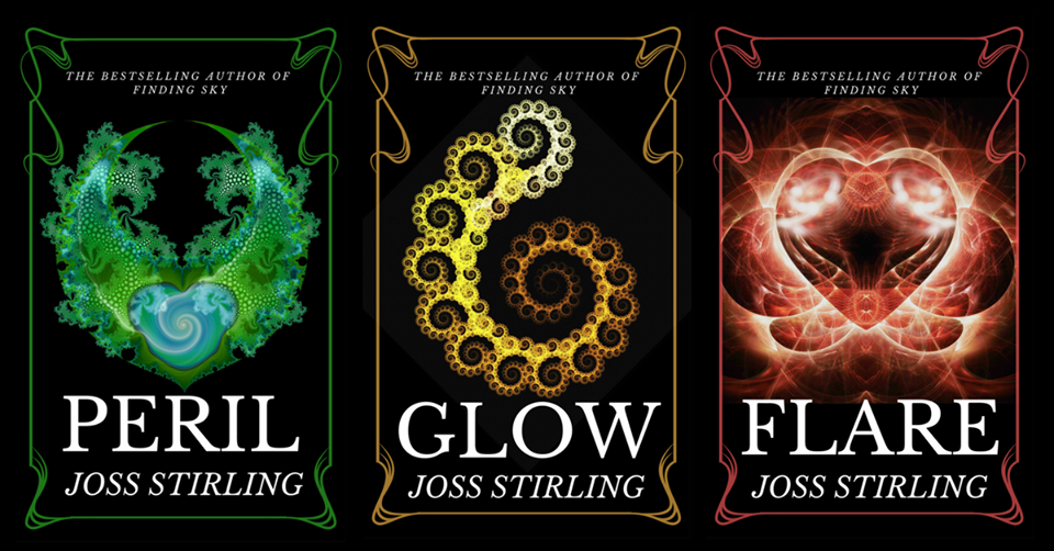 Three book covers Peril, Glow and Flare by Joss Stirling Images: Illustrations of different patterns - one in green, one in yellow, one as a reddish heart