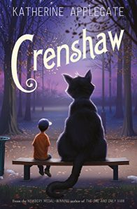 Book cover Text: Katherine Applegate Crenshaw From the Newbery Medal-Winning author of The One and Only Ivan Image: Illustration of a boy and a giant cat sitting on a bench looking away from us into the purple woods