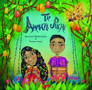 Book cover Text: The Ammuchi Puchi Sharanya Manivannan & Nerina Canzi Image: Illustration of a girl holding a butterfly and a boy holding a big box, sitting on a swing in a tropical garden